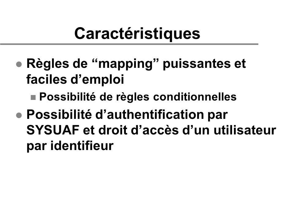 Caractéristiques l Règles de mapping puissantes et faciles demploi n Possibilité de règles conditionnelles l Possibilité dauthentification par SYSUAF et droit daccès dun utilisateur par identifieur
