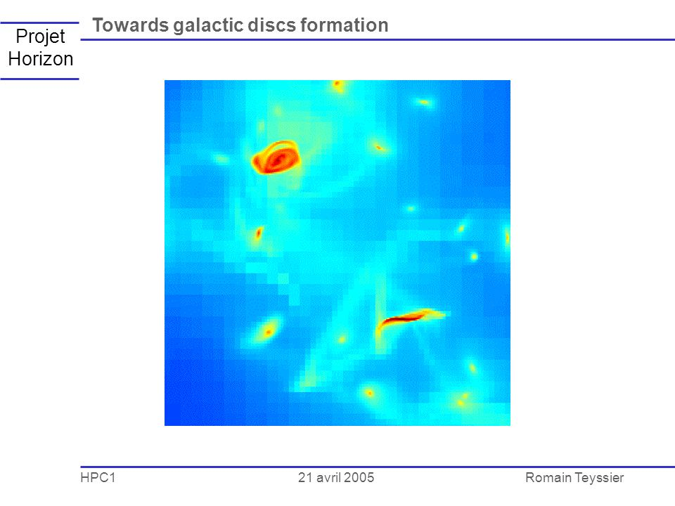 21 avril 2005 HPC1Romain Teyssier Projet Horizon Towards galactic discs formation