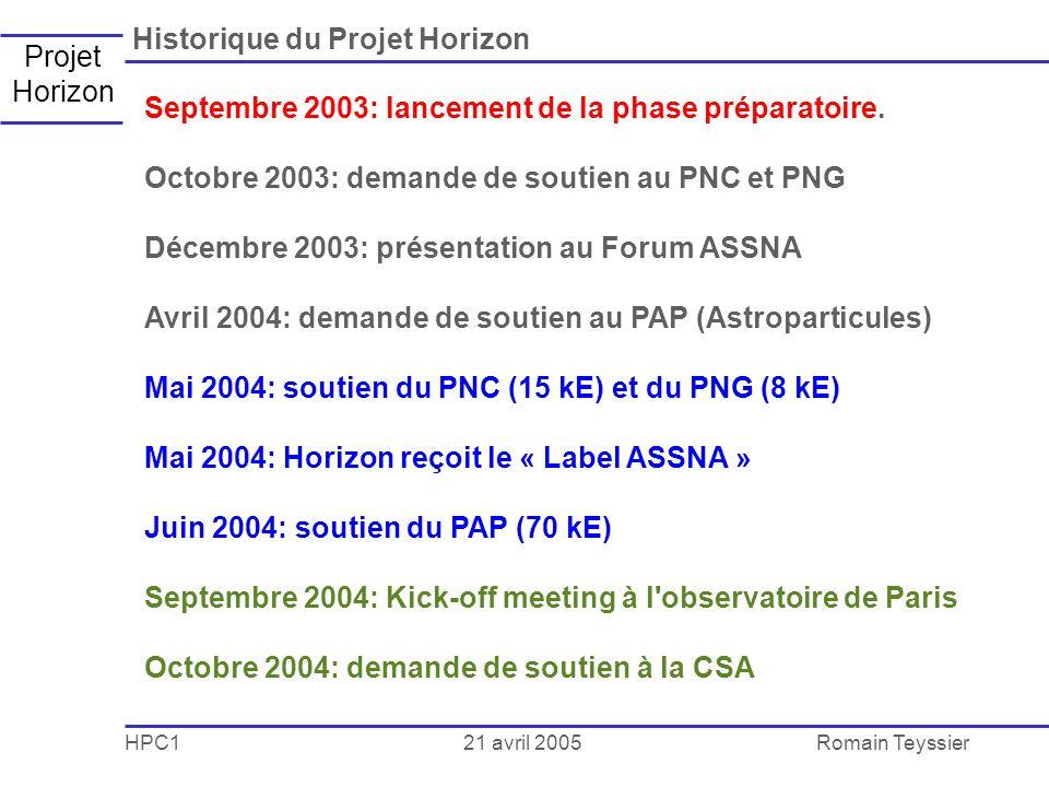 21 avril 2005 HPC1Romain Teyssier Projet Horizon Historique du Projet Horizon Septembre 2003: lancement de la phase préparatoire.