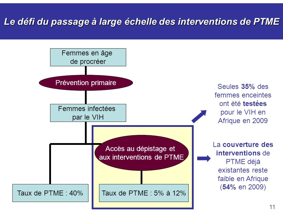 Le défi du passage à large échelle des interventions de PTME 11 Femmes infectées par le VIH Taux de PTME : 40%Taux de PTME : 5% à 12% Femmes en âge de procréer Prévention primaire Accès au dépistage et aux interventions de PTME Seules 35% des femmes enceintes ont été testées pour le VIH en Afrique en 2009 La couverture des interventions de PTME déjà existantes reste faible en Afrique (54% en 2009)