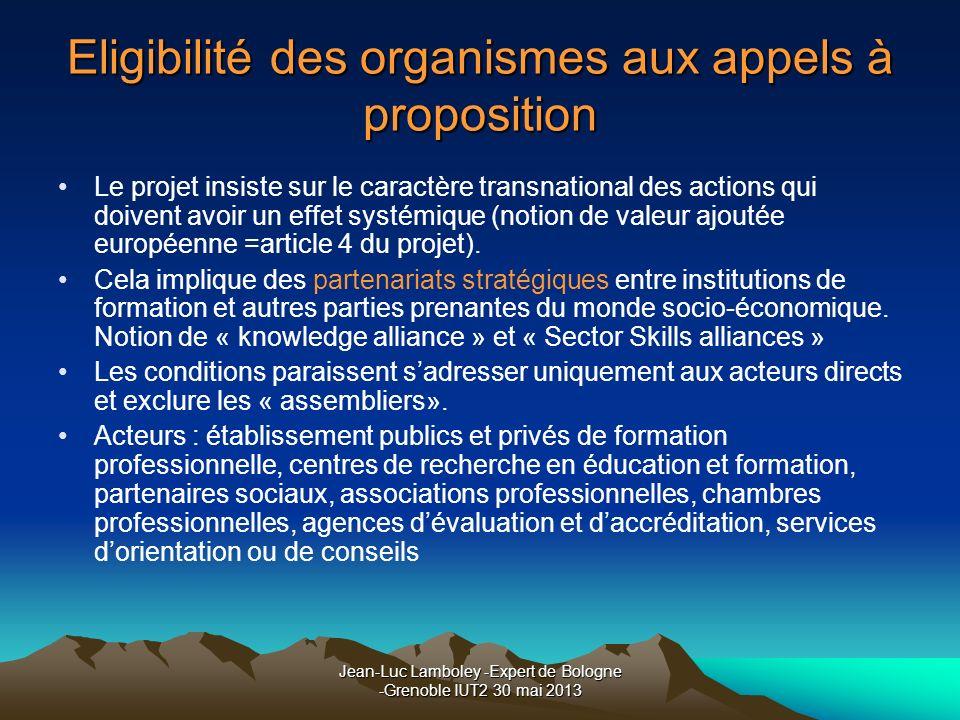 Jean-Luc Lamboley -Expert de Bologne -Grenoble IUT2 30 mai 2013 Eligibilité des organismes aux appels à proposition Le projet insiste sur le caractère