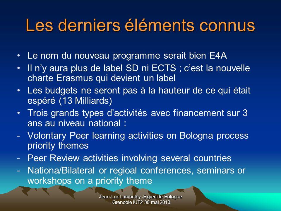 Jean-Luc Lamboley -Expert de Bologne -Grenoble IUT2 30 mai 2013 Les derniers éléments connus Le nom du nouveau programme serait bien E4A Il ny aura pl