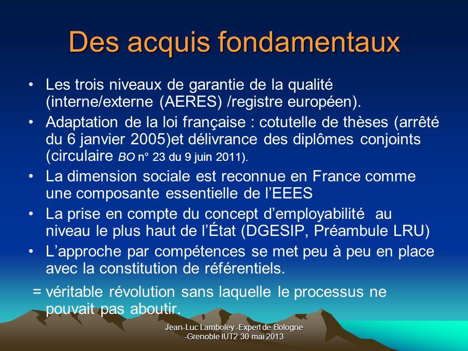 Jean-Luc Lamboley -Expert de Bologne -Grenoble IUT2 30 mai 2013 Des acquis fondamentaux Les trois niveaux de garantie de la qualité (interne/externe (