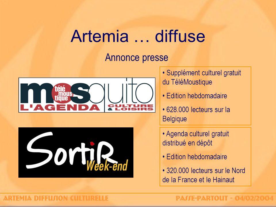 Artemia … diffuse Annonce presse Supplément culturel gratuit du TéléMoustique Edition hebdomadaire 628.000 lecteurs sur la Belgique Agenda culturel gr
