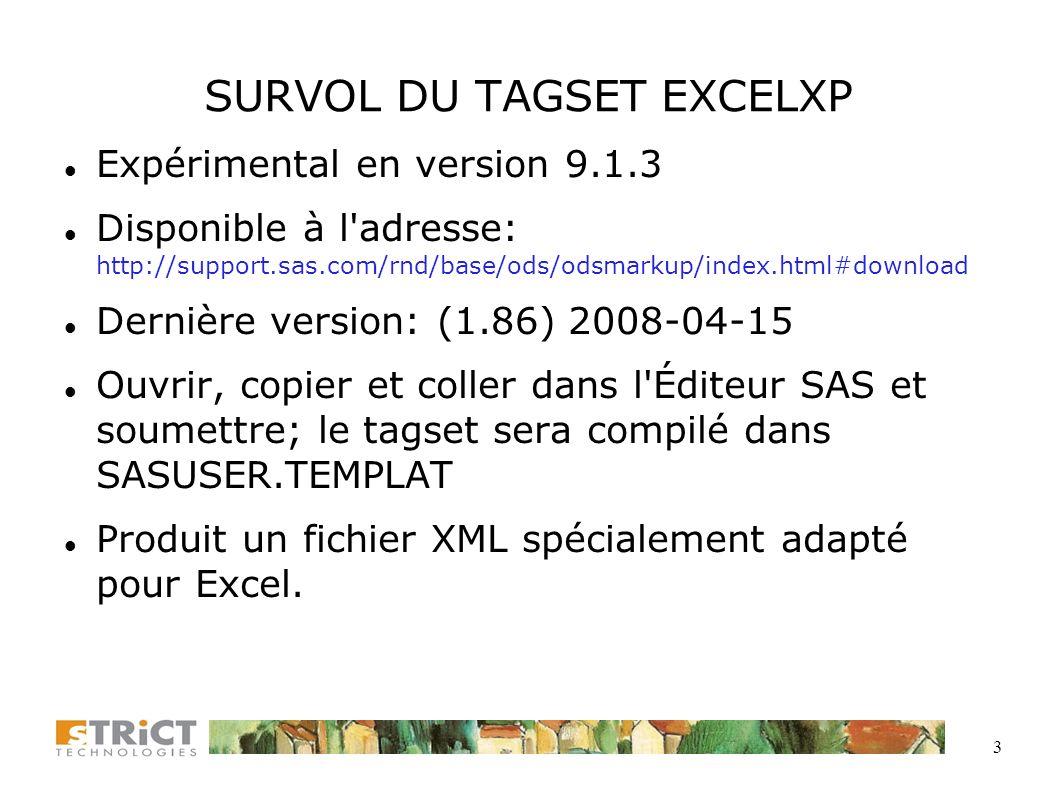 3 SURVOL DU TAGSET EXCELXP Expérimental en version 9.1.3 Disponible à l adresse: http://support.sas.com/rnd/base/ods/odsmarkup/index.html#download Dernière version: (1.86) 2008-04-15 Ouvrir, copier et coller dans l Éditeur SAS et soumettre; le tagset sera compilé dans SASUSER.TEMPLAT Produit un fichier XML spécialement adapté pour Excel.