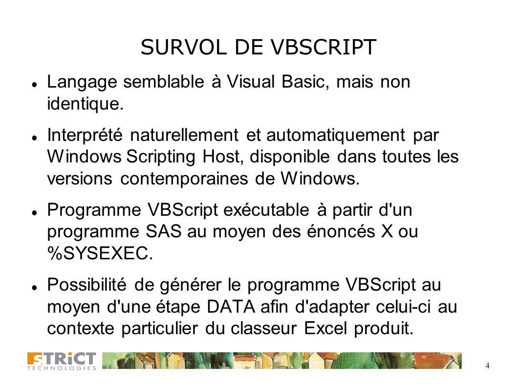 4 SURVOL DE VBSCRIPT Langage semblable à Visual Basic, mais non identique.