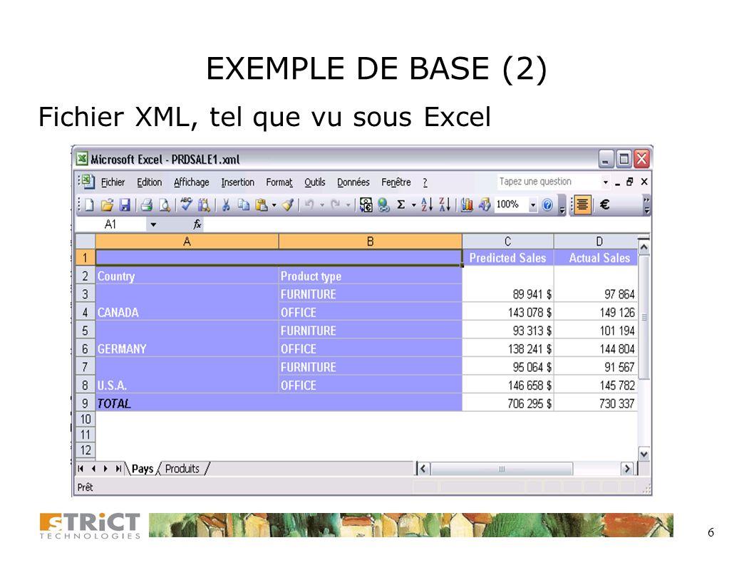 6 EXEMPLE DE BASE (2) Fichier XML, tel que vu sous Excel
