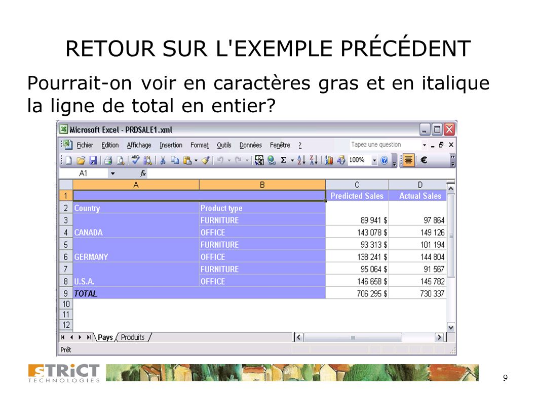 8 EXEMPLE DE BASE (4) Inclusion dans un programme SAS, suivant la création du fichier XML par TAGSETS.EXCELXP FILENAME VBSCRIPT