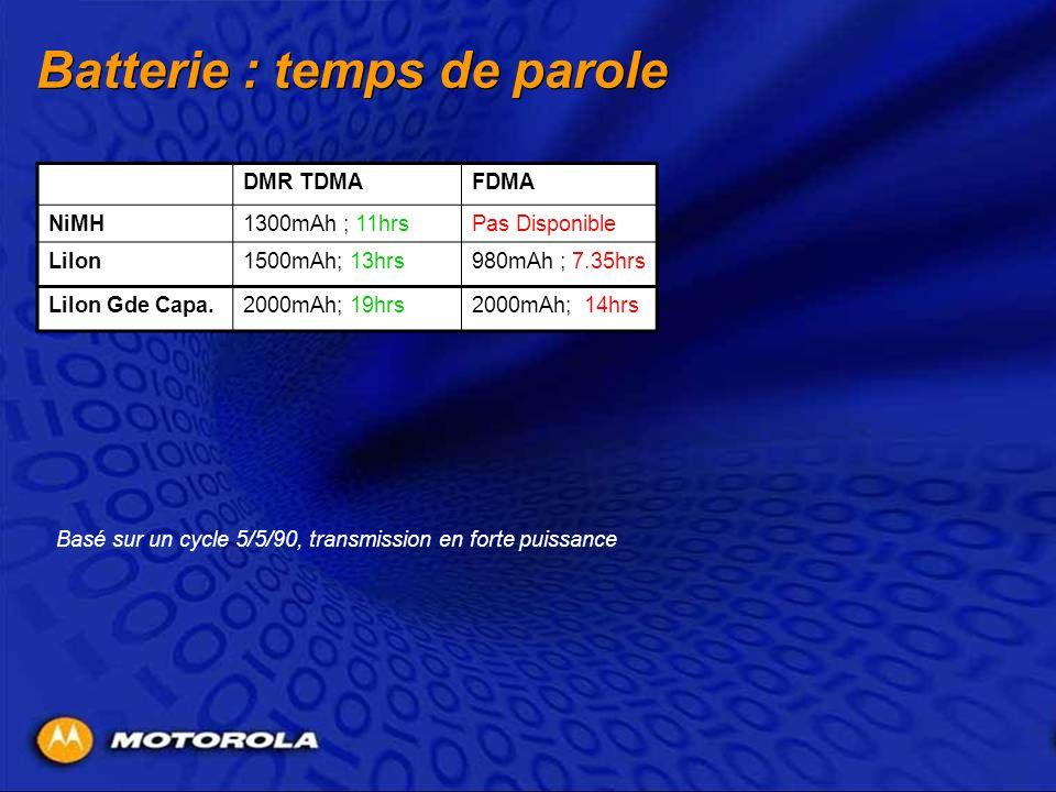 Batterie : temps de parole DMR TDMAFDMA NiMH1300mAh ; 11hrsPas Disponible LiIon1500mAh; 13hrs980mAh ; 7.35hrs LiIon Gde Capa.2000mAh; 19hrs2000mAh; 14