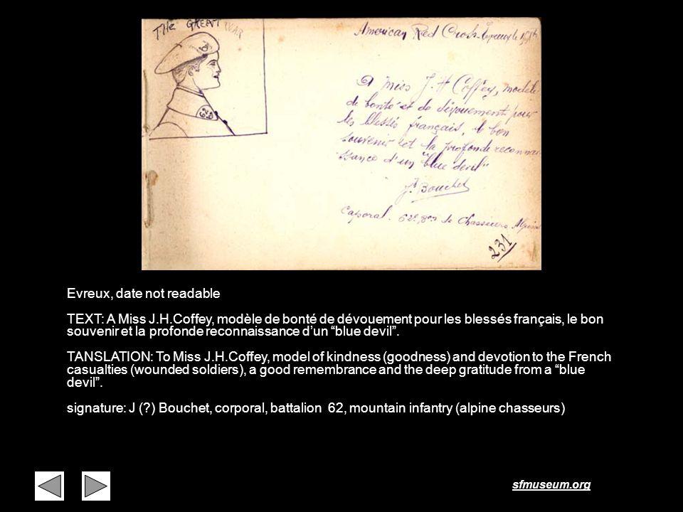 sfmuseum.org Page 12 Evreux, date not readable TEXT: A Miss J.H.Coffey, modèle de bonté de dévouement pour les blessés français, le bon souvenir et la