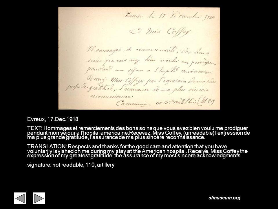 sfmuseum.org Page 19 Evreux, 17.Dec.1918 TEXT: Hommages et remerciements des bons soins que vous avez bien voulu me prodiguer pendant mon séjour a lho