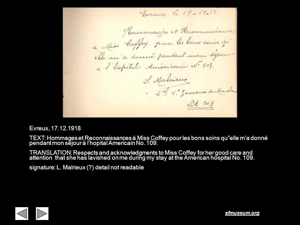 sfmuseum.org Page 27 Evreux, 17.12.1918 TEXT: Hommages et Reconnaissances á Miss Coffey pour les bons soins quelle ma donné pendant mon séjour á lhopi