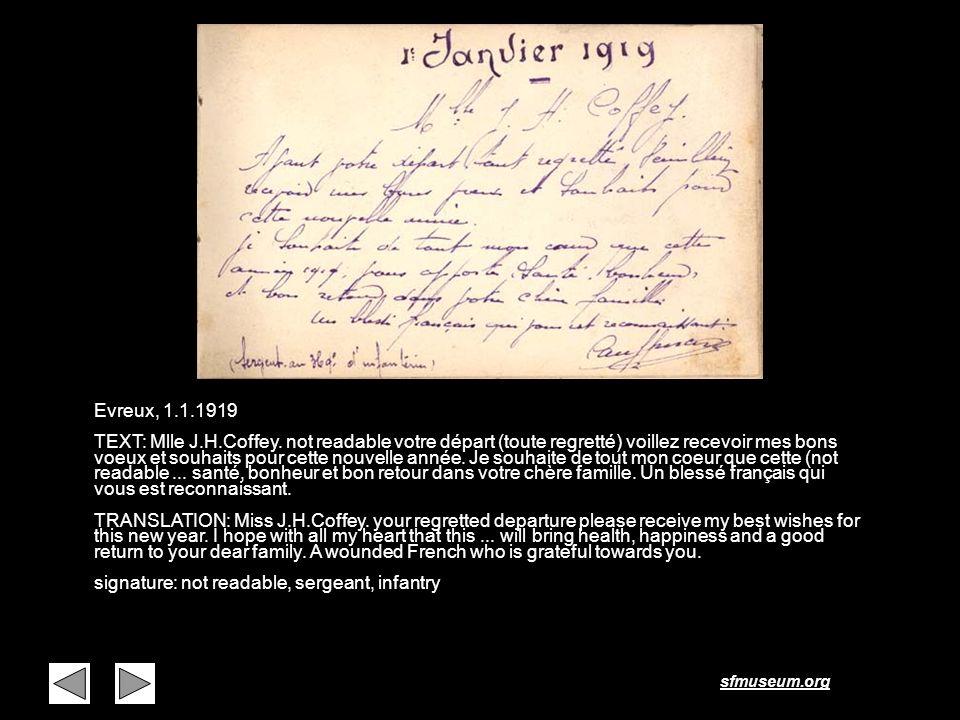 sfmuseum.org Page 41 Evreux, 1.1.1919 TEXT: Mlle J.H.Coffey. not readable votre départ (toute regretté) voillez recevoir mes bons voeux et souhaits po