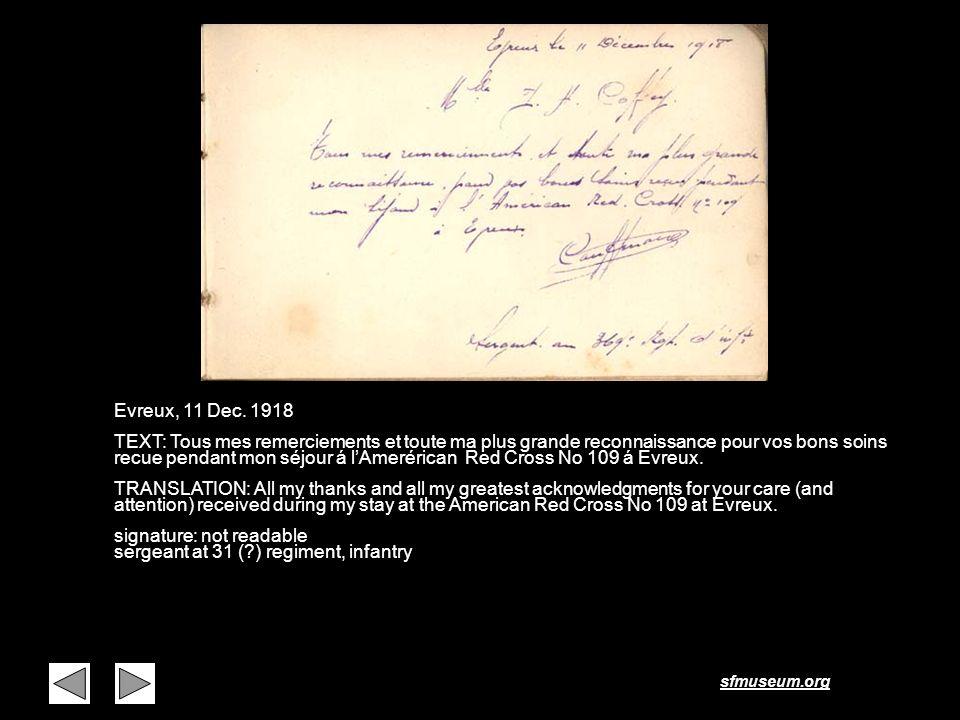 sfmuseum.org Evreux, 11 Dec. 1918 TEXT: Tous mes remerciements et toute ma plus grande reconnaissance pour vos bons soins recue pendant mon séjour á l