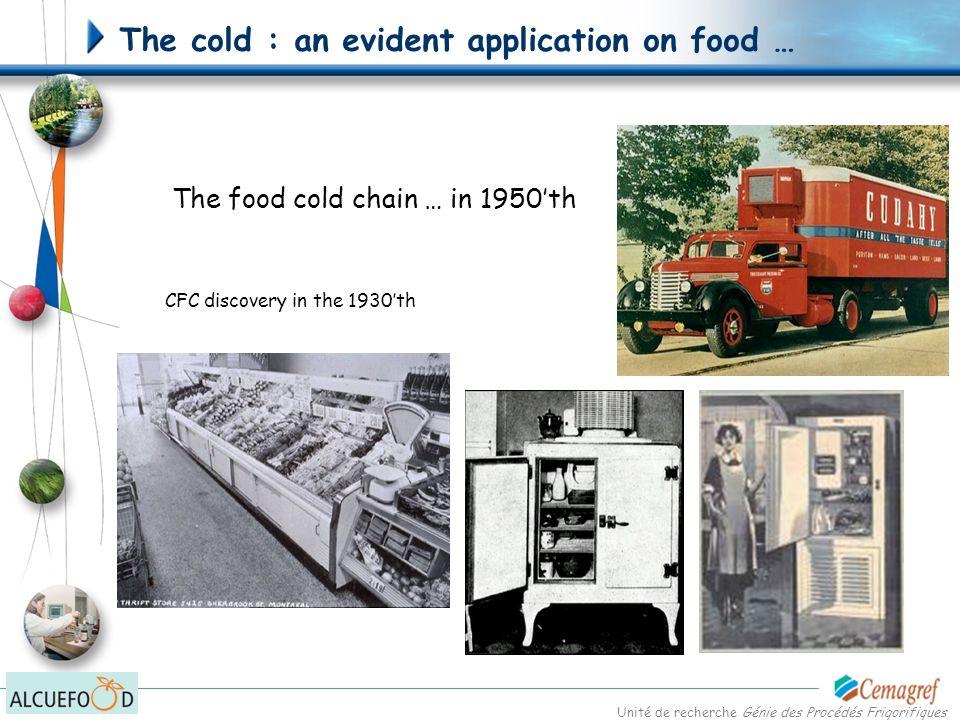Unité de recherche Génie des Procédés Frigorifiques The cold : an evident application on food … The food cold chain … today Cf V.
