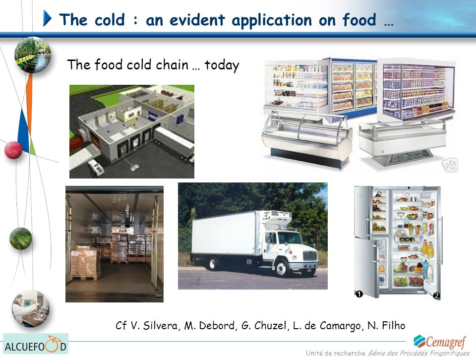Unité de recherche Génie des Procédés Frigorifiques The cold : some less evident applications on food Texturation and formulation Butter and fat Chocolate Dairy products and other semiliquid foods Ice creams … Lyophilisation Baby food Prepared meats