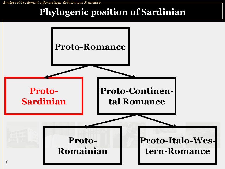 Analyse et Traitement Informatique de la Langue Française 7 Phylogenic position of Sardinian Proto-Romance Proto- Sardinian Proto-Continen- tal Romance Proto- Romainian Proto-Italo-Wes- tern-Romance