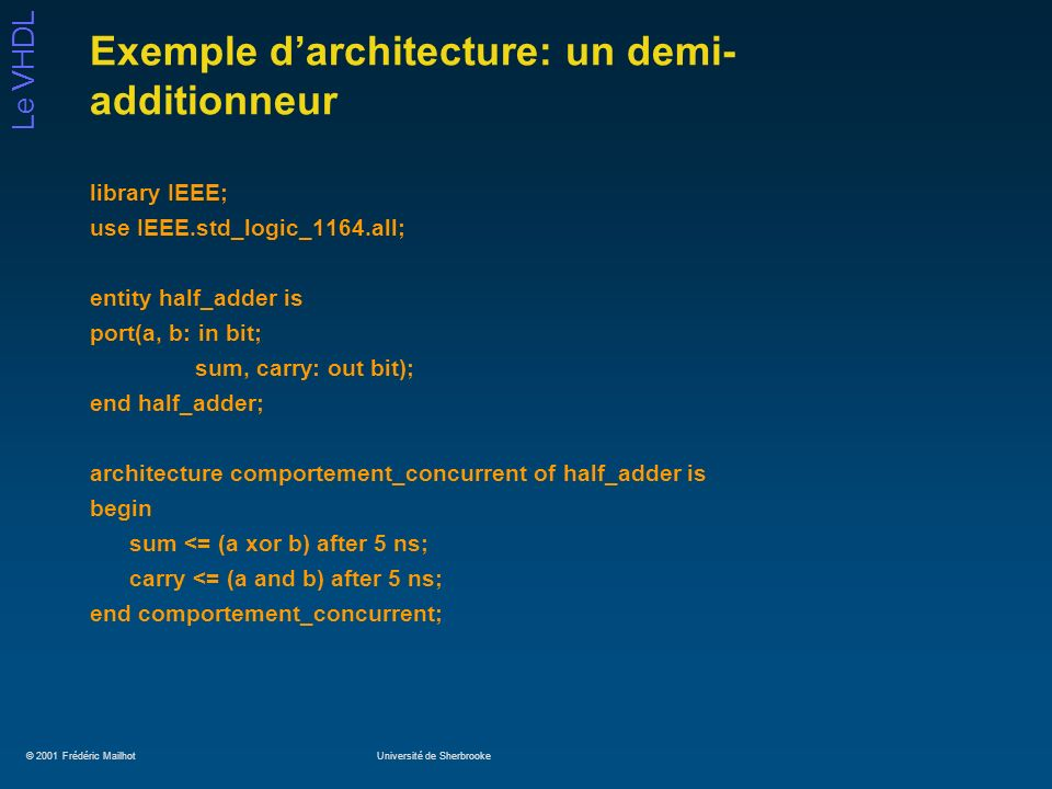 © 2001 Frédéric MailhotUniversité de Sherbrooke Le VHDL Exemple darchitecture: un demi- additionneur library IEEE; use IEEE.std_logic_1164.all; entity half_adder is port(a, b: in bit; sum, carry: out bit); end half_adder; architecture comportement_concurrent of half_adder is begin sum <= (a xor b) after 5 ns; carry <= (a and b) after 5 ns; end comportement_concurrent;