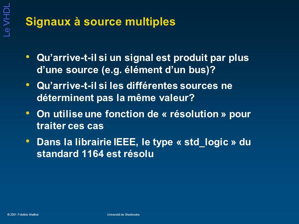 © 2001 Frédéric MailhotUniversité de Sherbrooke Le VHDL Signaux à source multiples Quarrive-t-il si un signal est produit par plus dune source (e.g. é