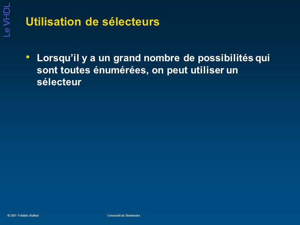 © 2001 Frédéric MailhotUniversité de Sherbrooke Le VHDL Utilisation de sélecteurs Lorsquil y a un grand nombre de possibilités qui sont toutes énuméré