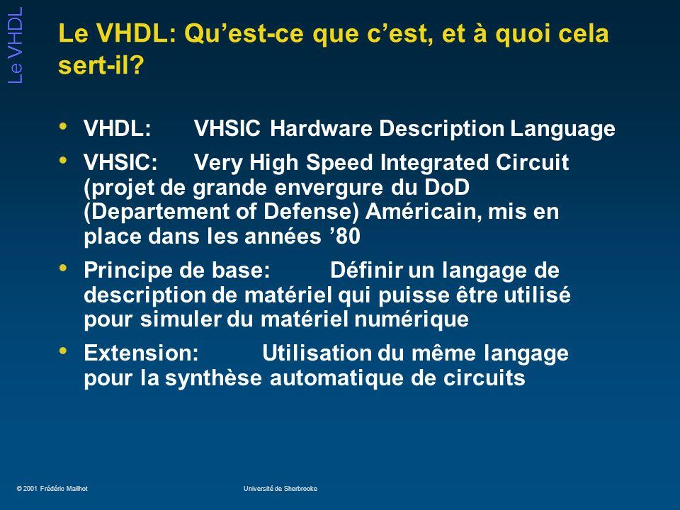 © 2001 Frédéric MailhotUniversité de Sherbrooke Le VHDL Exemple dentity: multiplexeur de bus entity mux is port (I0, I1 : in std_ulogic_vector (7 downto 0); I2, I3: in std_ulogic_vector (7 downto 0); Sel: in std_ulogic_vector (1 downto 0); z : out std_ulogic_vector (7 downto 0)); end mux;