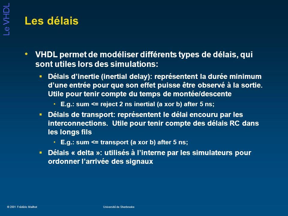 © 2001 Frédéric MailhotUniversité de Sherbrooke Le VHDL Les délais VHDL permet de modéliser différents types de délais, qui sont utiles lors des simul