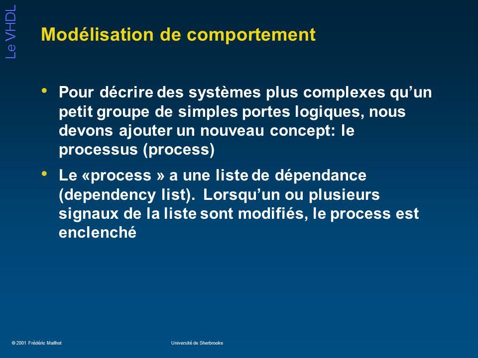 © 2001 Frédéric MailhotUniversité de Sherbrooke Le VHDL Modélisation de comportement Pour décrire des systèmes plus complexes quun petit groupe de sim
