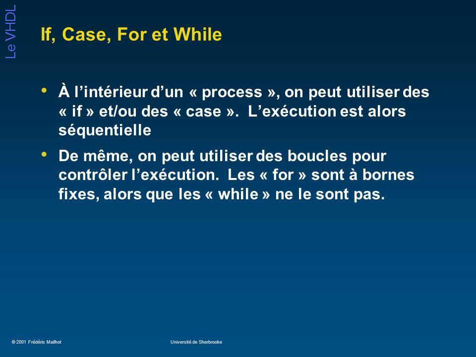 © 2001 Frédéric MailhotUniversité de Sherbrooke Le VHDL If, Case, For et While À lintérieur dun « process », on peut utiliser des « if » et/ou des « c