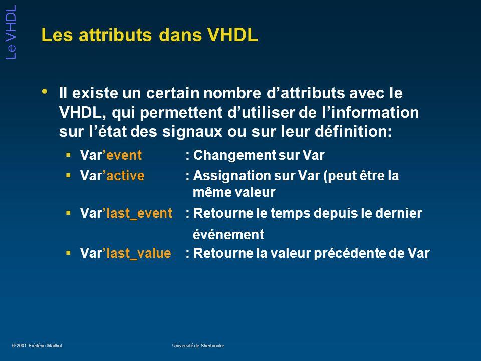 © 2001 Frédéric MailhotUniversité de Sherbrooke Le VHDL Les attributs dans VHDL Il existe un certain nombre dattributs avec le VHDL, qui permettent du