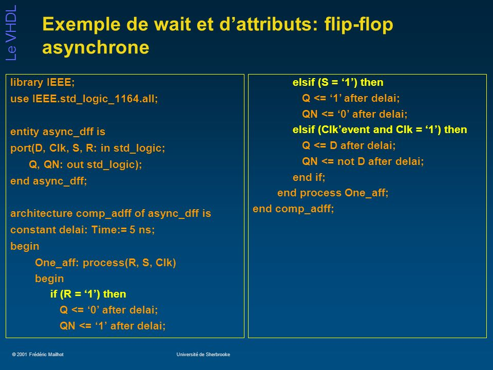 © 2001 Frédéric MailhotUniversité de Sherbrooke Le VHDL Exemple de wait et dattributs: flip-flop asynchrone library IEEE; use IEEE.std_logic_1164.all; entity async_dff is port(D, Clk, S, R: in std_logic; Q, QN: out std_logic); end async_dff; architecture comp_adff of async_dff is constant delai: Time:= 5 ns; begin One_aff: process(R, S, Clk) begin if (R = 1) then Q <= 0 after delai; QN <= 1 after delai; elsif (S = 1) then Q <= 1 after delai; QN <= 0 after delai; elsif (Clkevent and Clk = 1) then Q <= D after delai; QN <= not D after delai; end if; end process One_aff; end comp_adff;