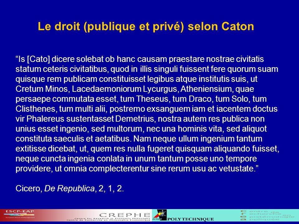 Le droit (publique et privé) selon Caton Is [Cato] dicere solebat ob hanc causam praestare nostrae civitatis statum ceteris civitatibus, quod in illis