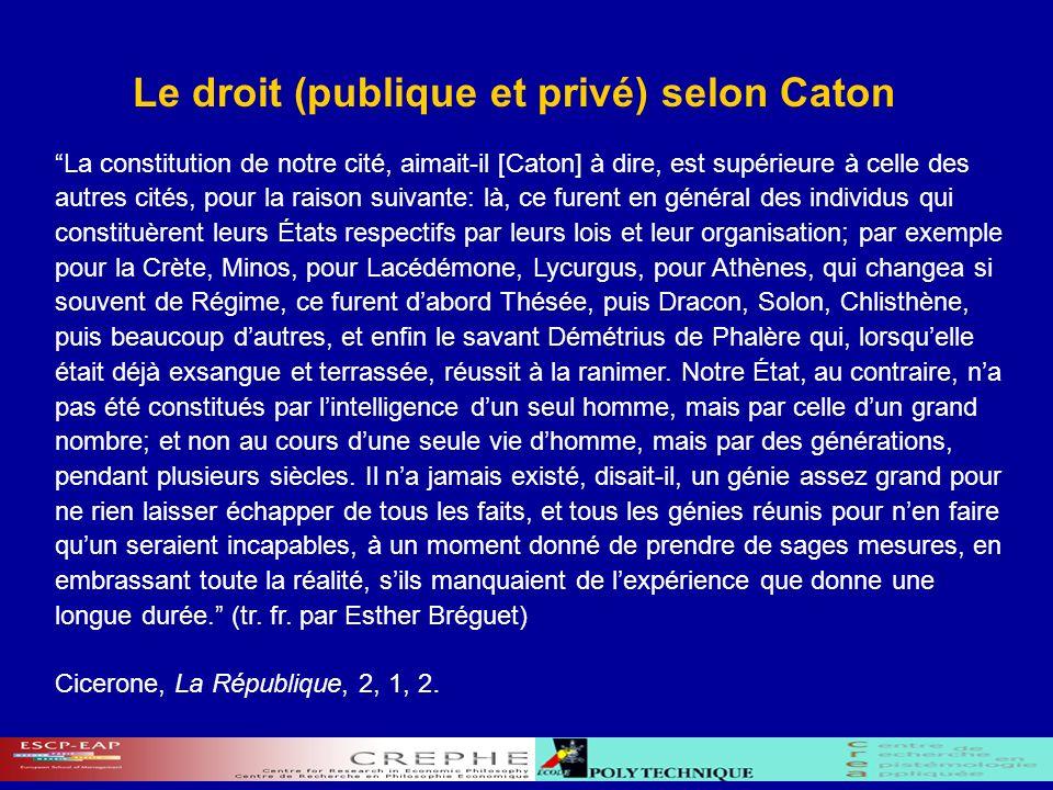 Le droit (publique et privé) selon Caton La constitution de notre cité, aimait-il [Caton] à dire, est supérieure à celle des autres cités, pour la rai