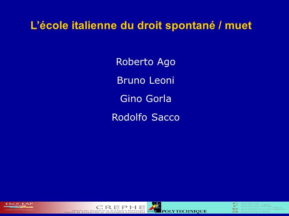 Lécole italienne du droit spontané / muet Roberto Ago Bruno Leoni Gino Gorla Rodolfo Sacco