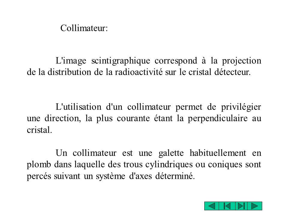 L image scintigraphique correspond à la projection de la distribution de la radioactivité sur le cristal détecteur.