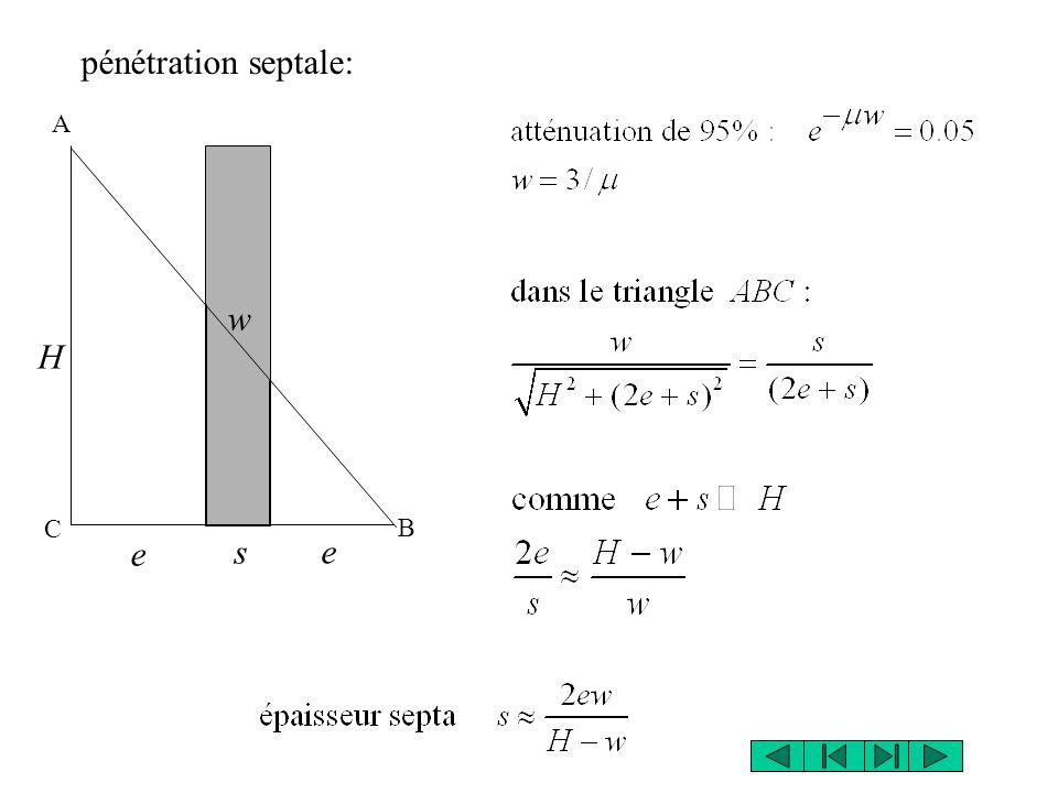 H w s e e pénétration septale: A B C