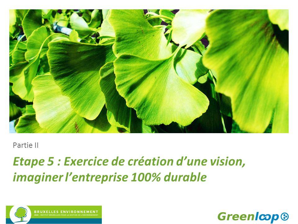 Etape 5 : Exercice de création dune vision, imaginer lentreprise 100% durable Partie II