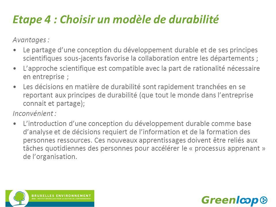 Etape 4 : Choisir un modèle de durabilité Avantages : Le partage dune conception du développement durable et de ses principes scientifiques sous-jacen
