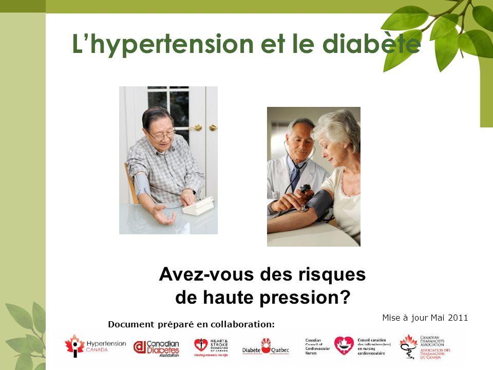 Lhypertension et le diabète 11 Avril 2010 1 Avez-vous des risques de haute pression? Document préparé en collaboration: Mise à jour Mai 2011