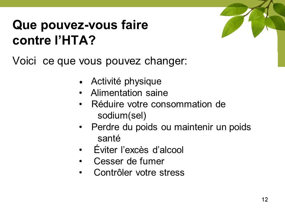 12 Que pouvez-vous faire contre lHTA? Voici ce que vous pouvez changer: Activité physique Alimentation saine Réduire votre consommation de sodium(sel)