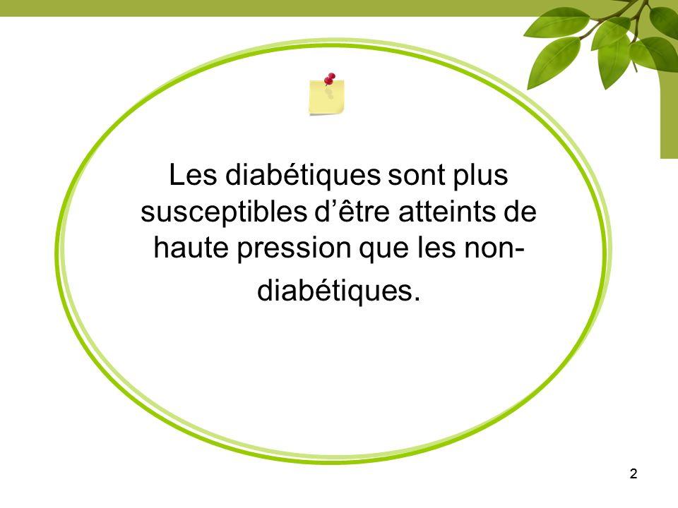 222 Les diabétiques sont plus susceptibles dêtre atteints de haute pression que les non- diabétiques.