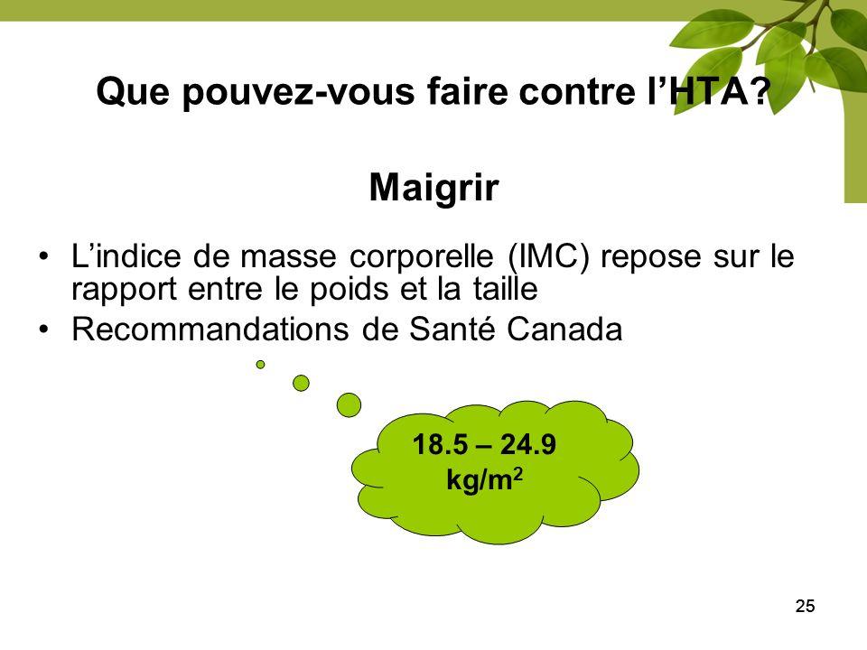 25 Que pouvez-vous faire contre lHTA? Maigrir Lindice de masse corporelle (IMC) repose sur le rapport entre le poids et la taille Recommandations de S