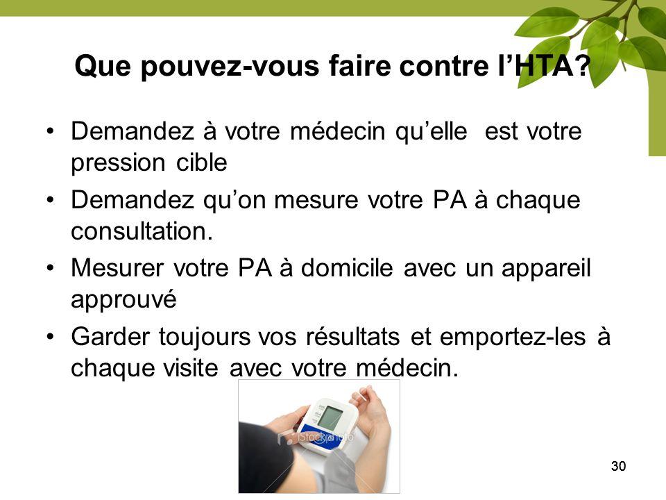 30 Demandez à votre médecin quelle est votre pression cible Demandez quon mesure votre PA à chaque consultation. Mesurer votre PA à domicile avec un a