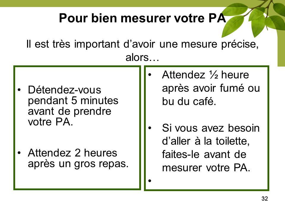 32 Pour bien mesurer votre PA Détendez-vous pendant 5 minutes avant de prendre votre PA. Attendez 2 heures après un gros repas. Il est très important