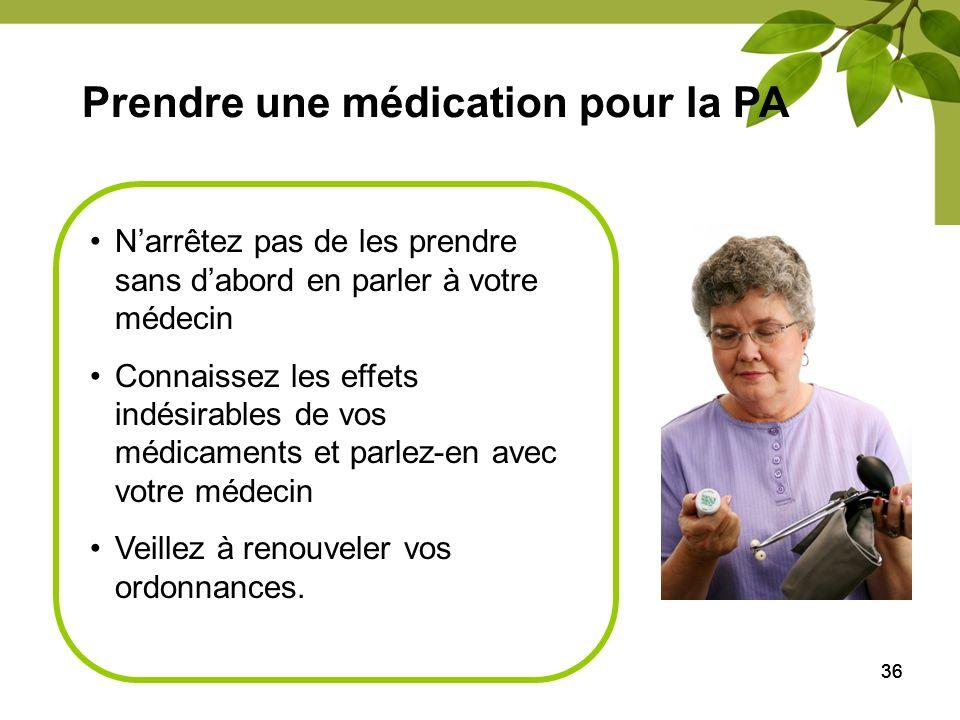 36 Prendre une médication pour la PA Narrêtez pas de les prendre sans dabord en parler à votre médecin Connaissez les effets indésirables de vos médic