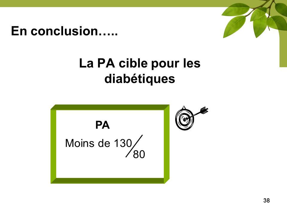 38 La PA cible pour les diabétiques PA Moins de 130 80 En conclusion…..