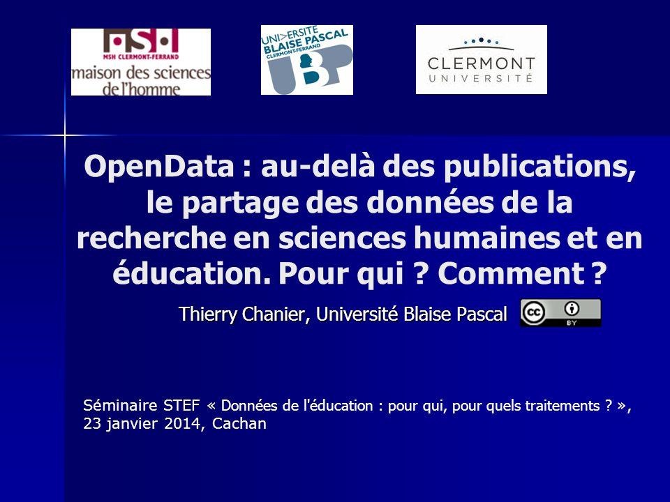 OpenData : au-delà des publications, le partage des données de la recherche en sciences humaines et en éducation.