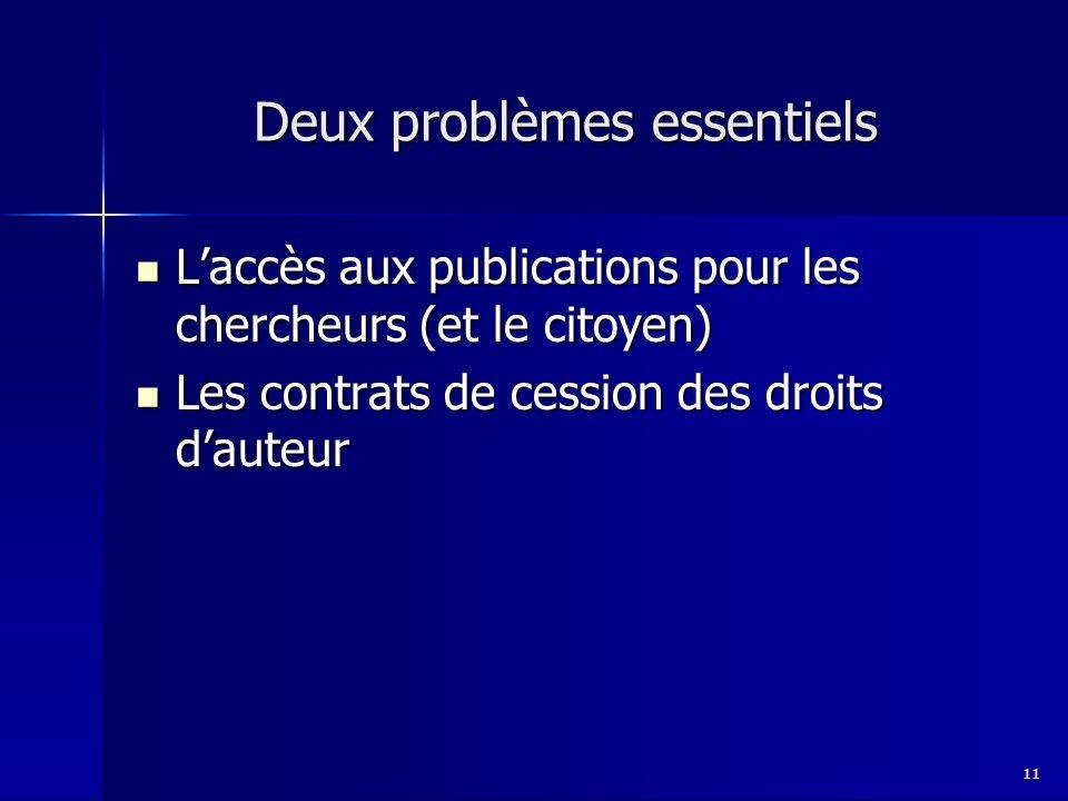Deux problèmes essentiels Laccès aux publications pour les chercheurs (et le citoyen) Laccès aux publications pour les chercheurs (et le citoyen) Les contrats de cession des droits dauteur Les contrats de cession des droits dauteur 11