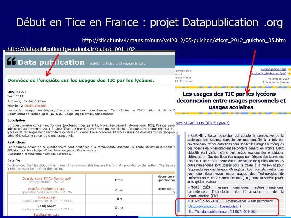 Début en Tice en France : projet Datapublication.org 23 http://sticef.univ-lemans.fr/num/vol2012/05-guichon/sticef_2012_guichon_05.htm http://datapublication.tge-adonis.fr/data/d-001-102