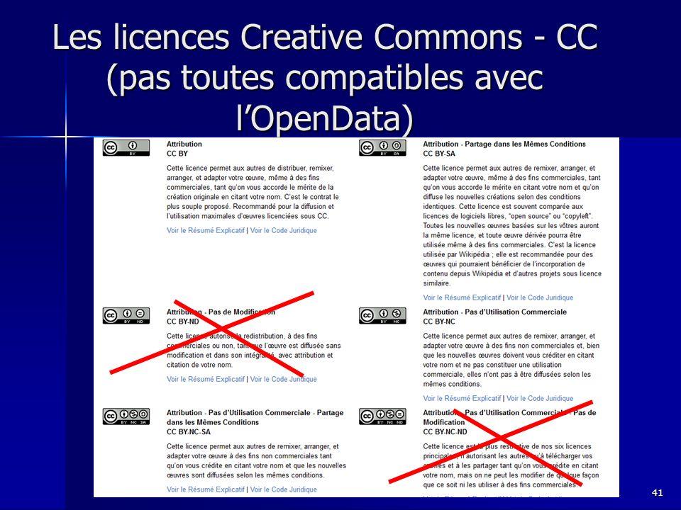 Les licences Creative Commons - CC (pas toutes compatibles avec lOpenData) 41