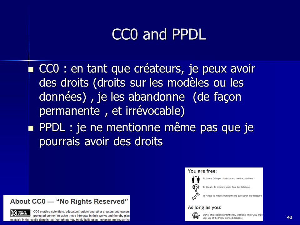 CC0 and PPDL CC0 : en tant que créateurs, je peux avoir des droits (droits sur les modèles ou les données), je les abandonne (de façon permanente, et irrévocable) CC0 : en tant que créateurs, je peux avoir des droits (droits sur les modèles ou les données), je les abandonne (de façon permanente, et irrévocable) PPDL : je ne mentionne même pas que je pourrais avoir des droits PPDL : je ne mentionne même pas que je pourrais avoir des droits 43